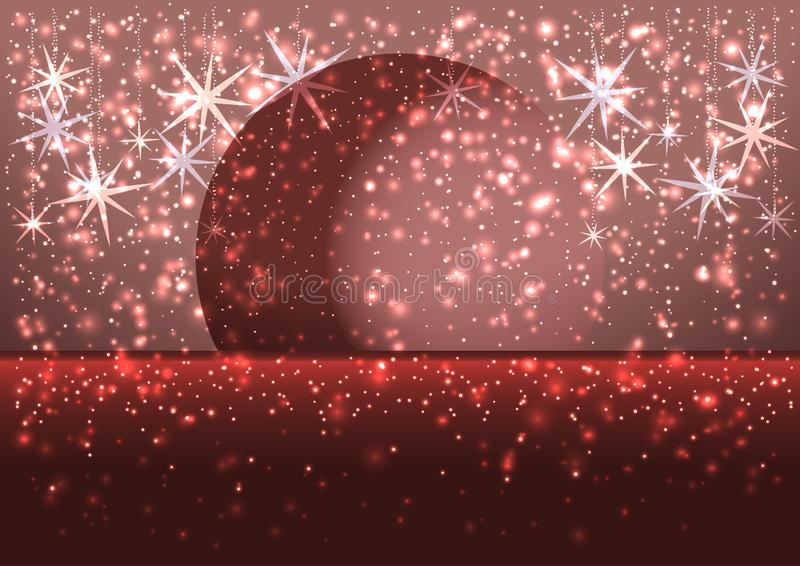 Illustration of a winter snowy evening with the moon on the horizon, greeting card Merry Christmas background, red colors, vector royalty free stock images