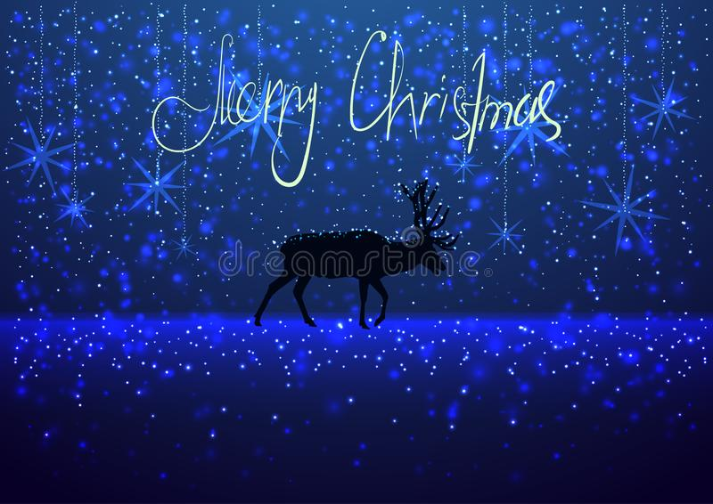 Illustration of a winter snowy evening with the silhouette of a deer, greeting card Merry Christmas background, blue colors, royalty free stock photos