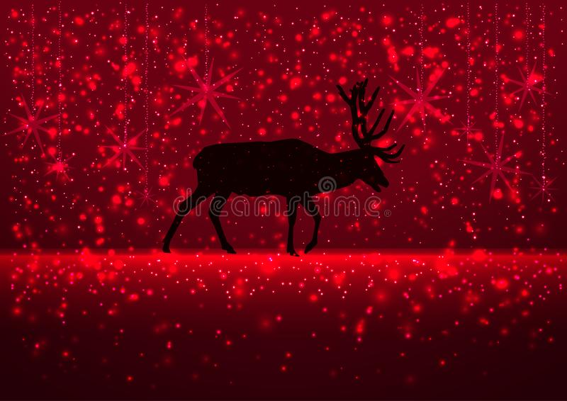 Illustration of a winter snowy evening with the silhouette of a deer, greeting card Merry Christmas background, red colors, vector royalty free stock photo