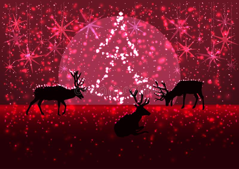 Illustration of a winter snowy evening with the silhouette of a pride of deers, moon and Chrismas tree on the horizon, greeting stock photography