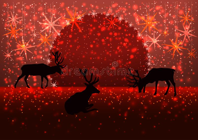 Illustration of a winter snowy evening with the silhouette of a pride of deers, moon on the horizon, greeting card Merry stock photo