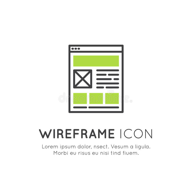 Illustration of Wireframe Layout Design, Web Programming, UI or UX Optimization, Responsive Interface, Network, Page Building Conc royalty free illustration