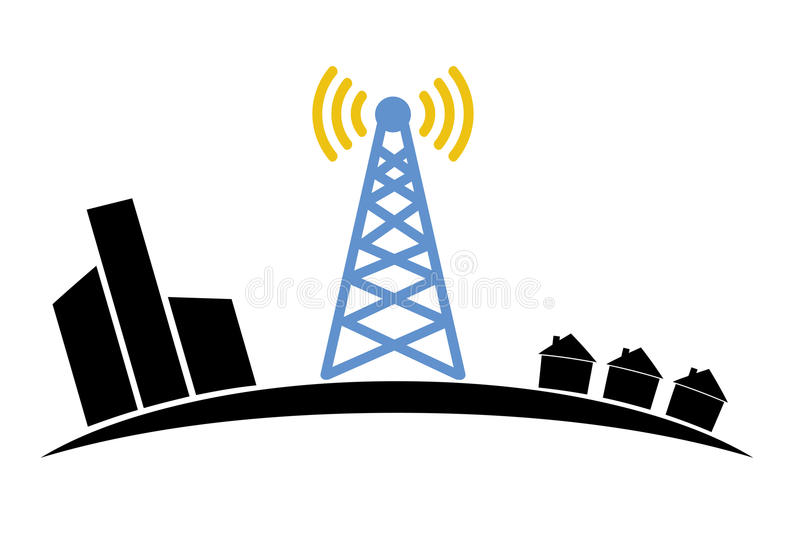 Illustration of wireless signal of internet into stock illustration