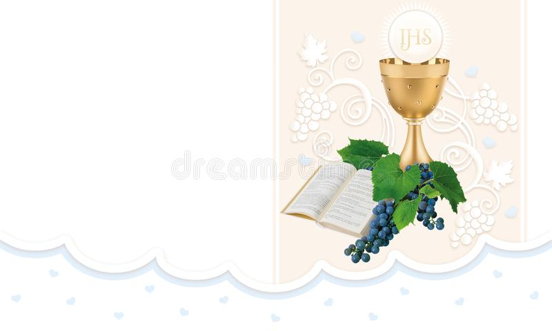 First holy communion. Illustration for the wishes text for a first holy communion, flower, herts, roses royalty free illustration