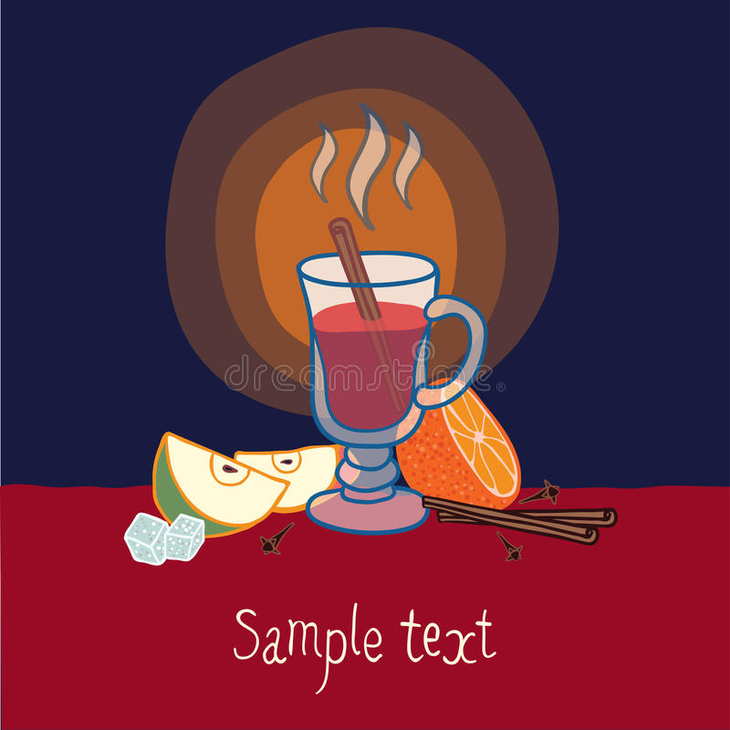 Free Illustration With A Glass Of Mulled Wine Royalty Free Stock Photos - 28390108