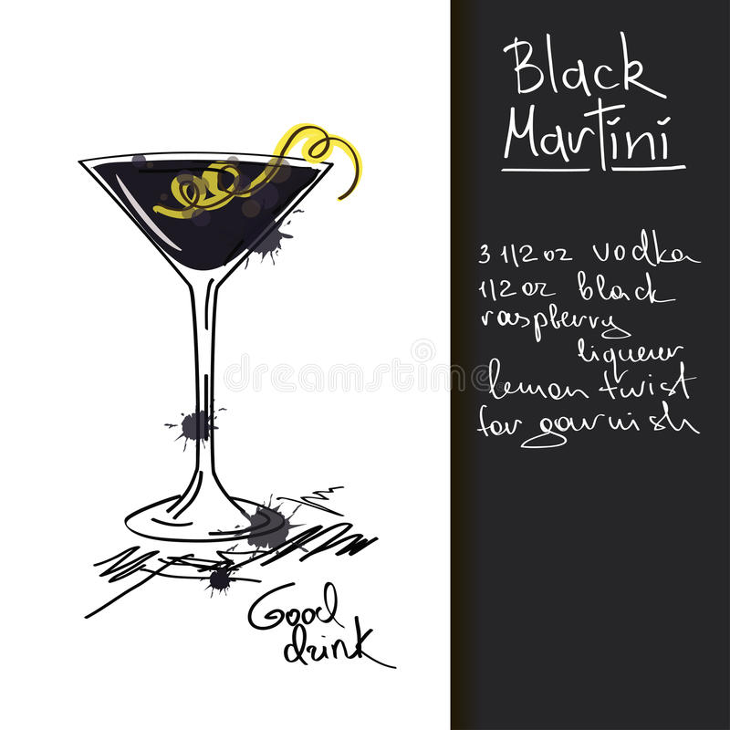 Free Illustration With Black Martini Cocktail Royalty Free Stock Images - 34386939