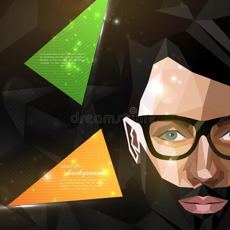 Free Illustration With Man Face In Polygonal Style. Modern Poster Of Fashion, Beauty Or Entertainment Concept Royalty Free Stock Photography - 61813227