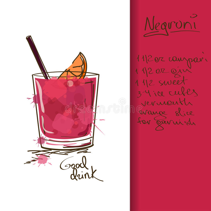 Free Illustration With Negroni Cocktail Stock Image - 34386941
