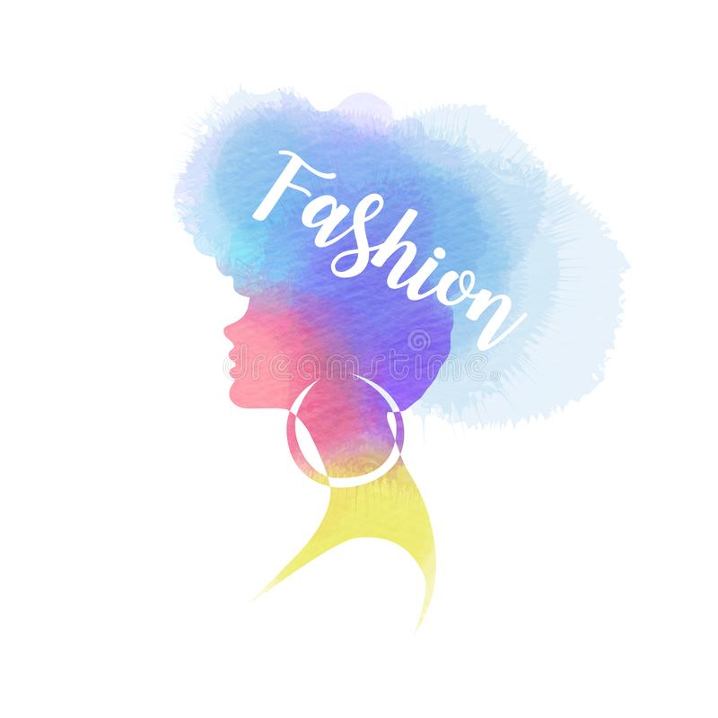 Illustration of woman beauty salon silhouette plus abstract watercolor.  Fashion logo. Digital art painting. Vector illustration. Illustration of woman beauty stock illustration