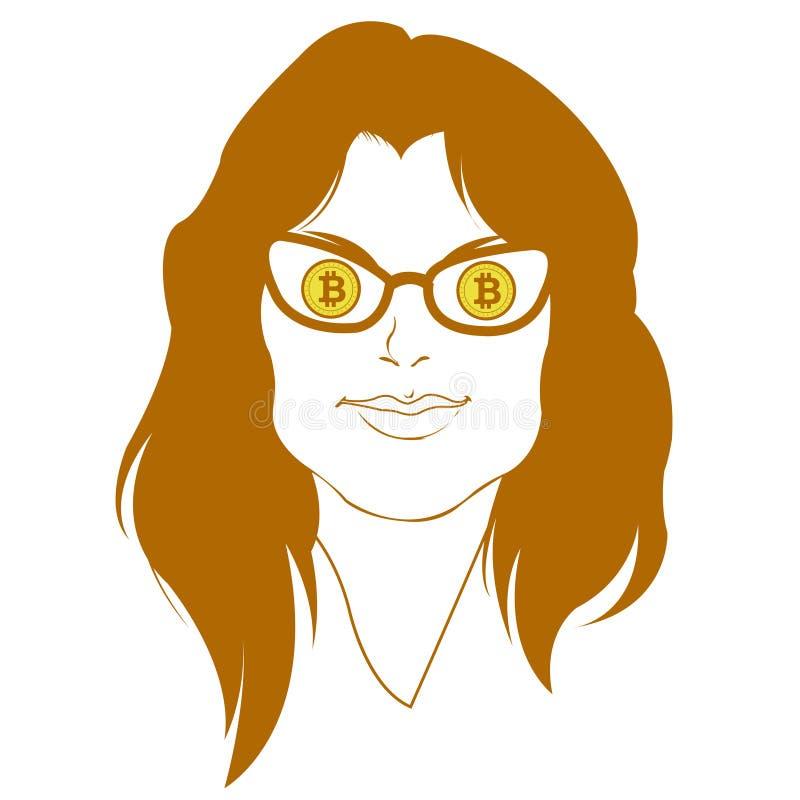 Woman Bitcoin User Character Illustration vector illustration