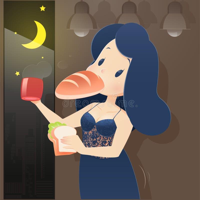 Woman eating at night. Illustration woman in blue nightwear eating at night. Night hunger, Drinking coffee, Cartoon-Vector vector illustration
