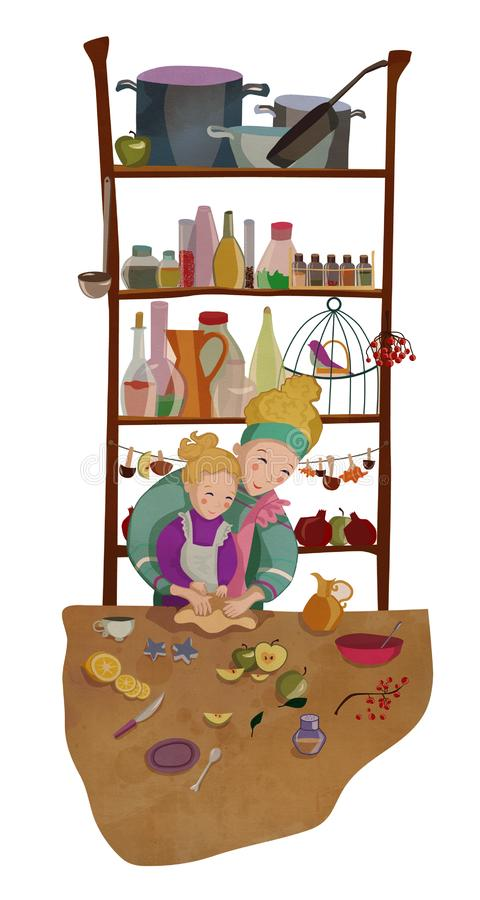 Mother and daughter cooking together and baking vector illustration