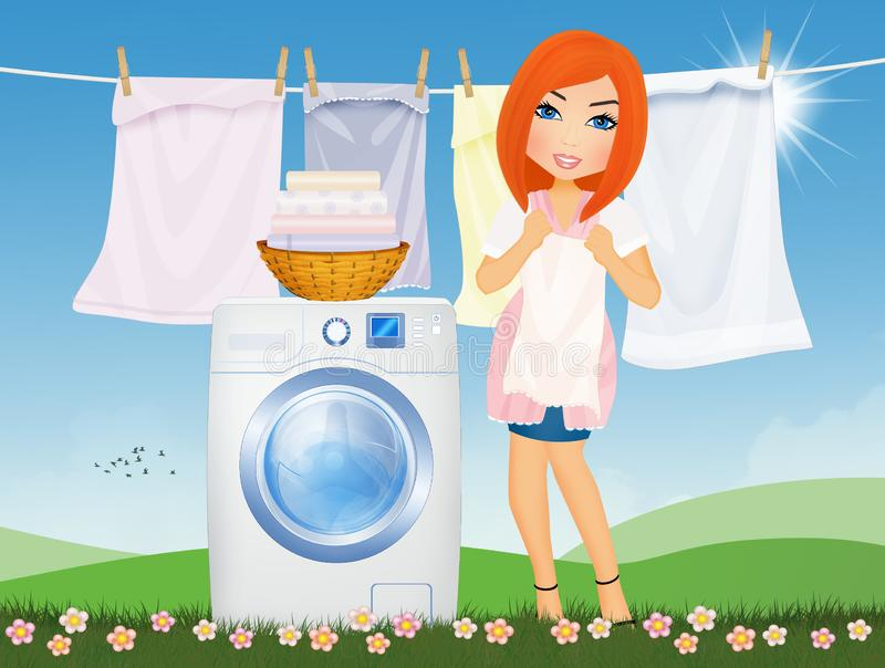Woman does laundry with washing machine in the outdoor lawn. Illustration of woman does laundry with washing machine in the outdoor lawn stock illustration