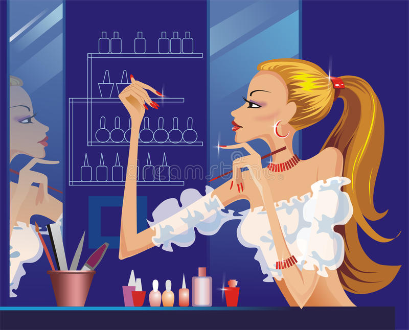 Illustration woman doing her manicure. And looking in the mirror