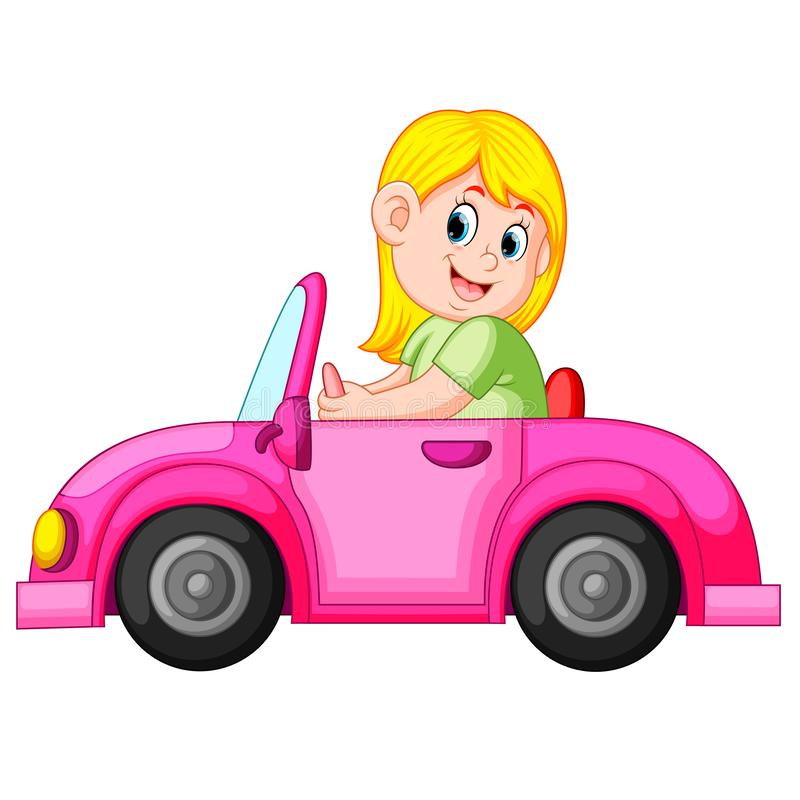 The woman drive the clean pink car with the happy expression. Illustration of the woman drive the clean pink car with the happy expression royalty free illustration