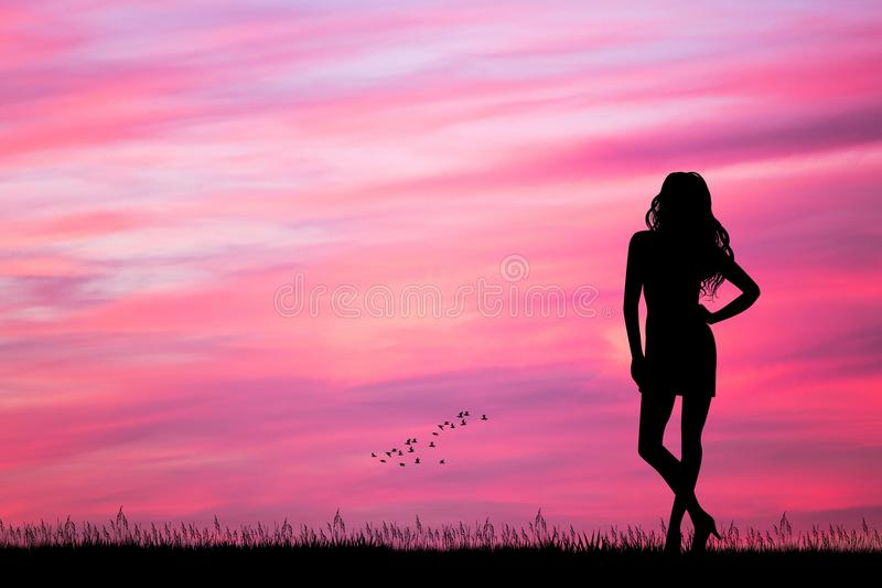 Woman looking the pink sunset stock illustration
