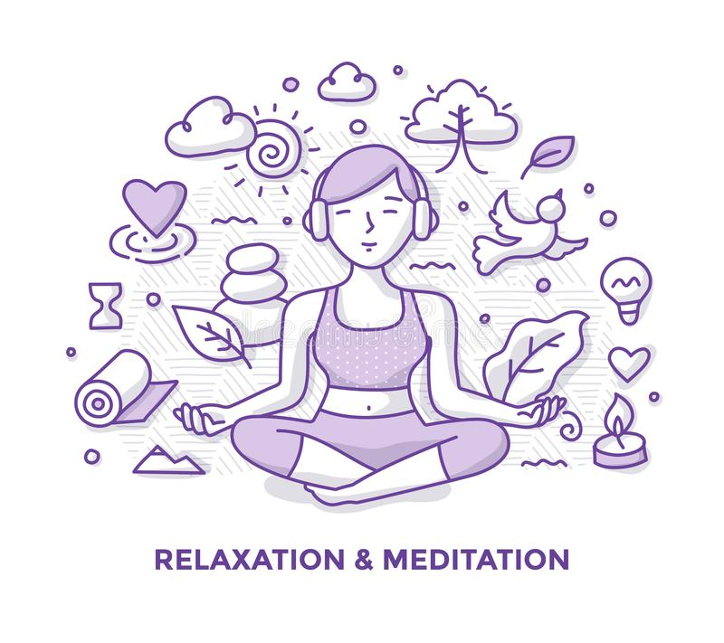 Relaxation and Meditation Doodle vector illustration
