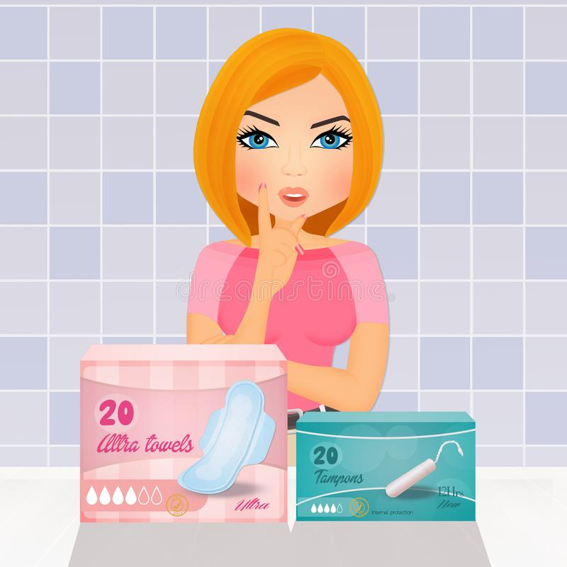 Woman with menstrual problems. Illustration of woman with menstrual problems vector illustration