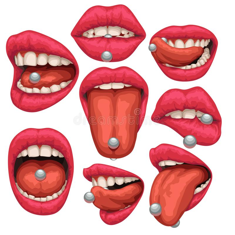 Mouth with pircing set stock illustration