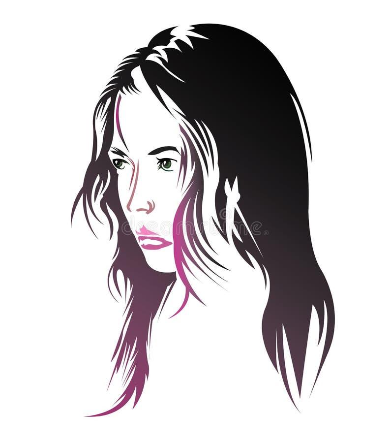 Woman side view portrait stock illustration