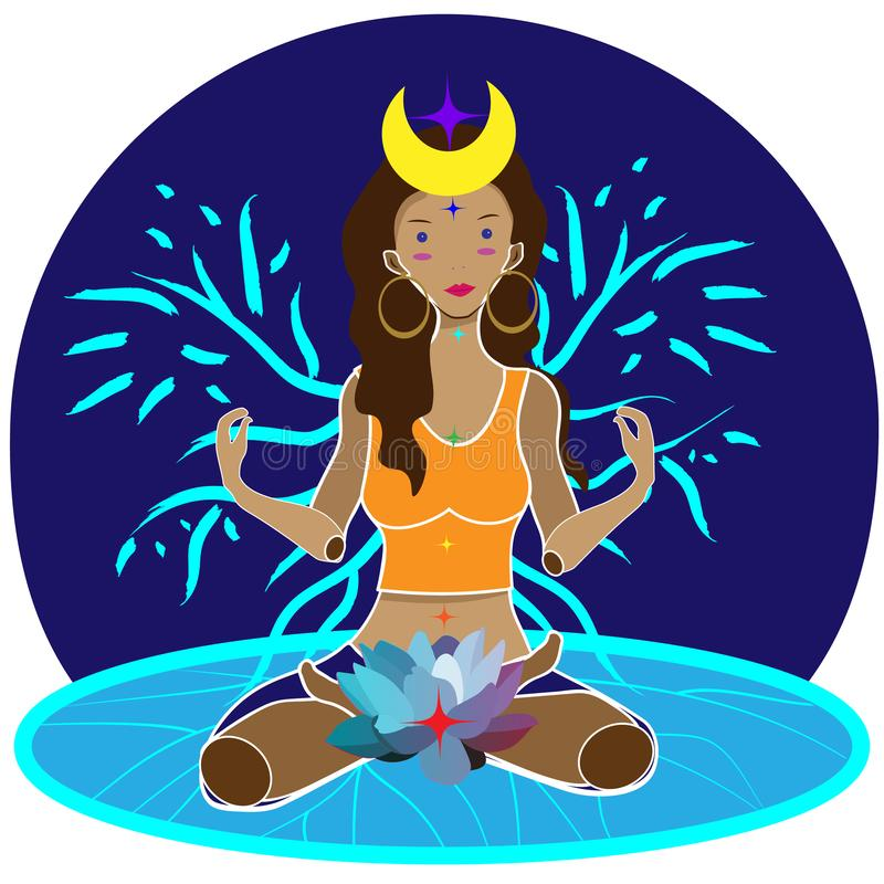 Woman sitting with lotus flower at the root chakra stock illustration