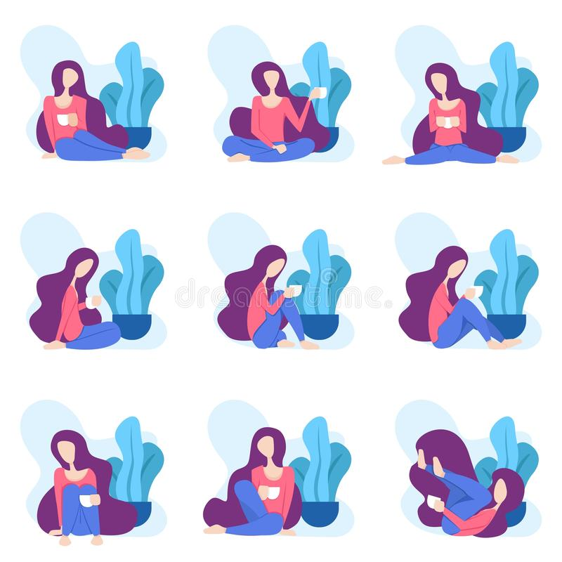 Illustration of a woman sitting relaxed drinking a glass of coffee or tea in front of a tree. can for modern webpages and addition vector illustration