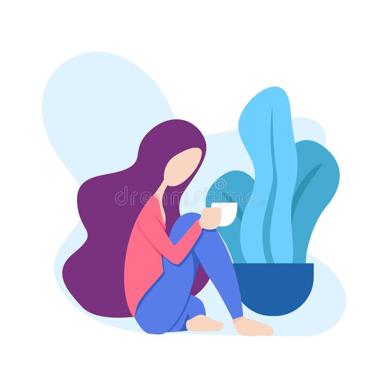 Illustration of a woman sitting relaxed drinking a glass of coffee or tea in front of a tree. can for modern webpages and addition stock illustration