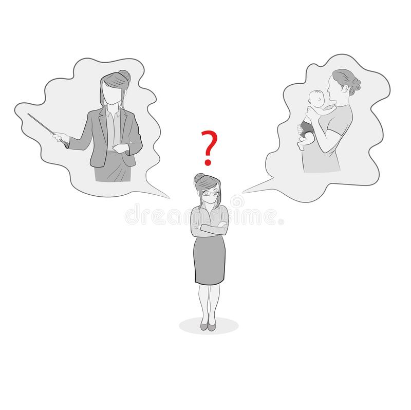 Illustration of a woman standing and choosing a career or family. vector illustration. royalty free illustration
