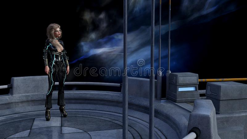 Illustration of a woman standing on a platform in space with a nebula in the background. 3d illustration of a woman standing on a platform in space with a nebula vector illustration
