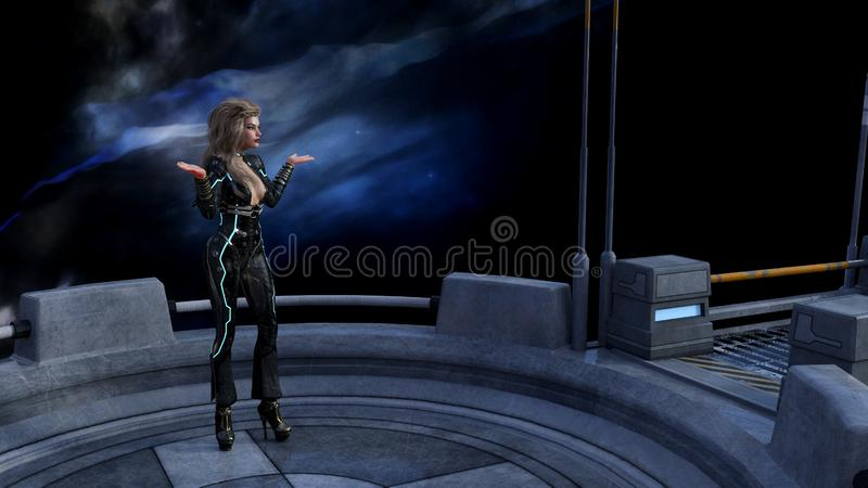 Illustration of a woman standing on a platform in space with a nebula in the background with her hands spread in a what gesture. 3d illustration of a woman vector illustration
