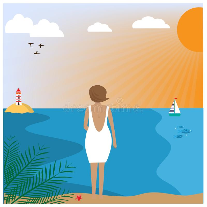 Illustration with woman wearing in a white dress standing on the beach. stock illustration
