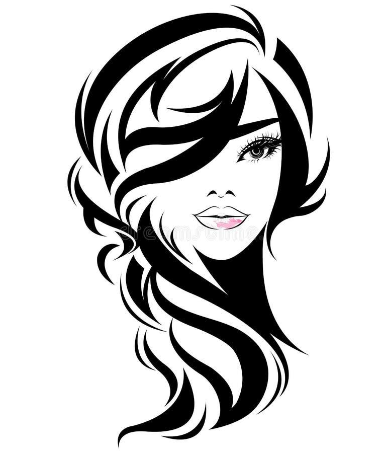 Women long hair style icon, logo women on white background. Illustration of women long hair style icon, logo women face on white background, vector
