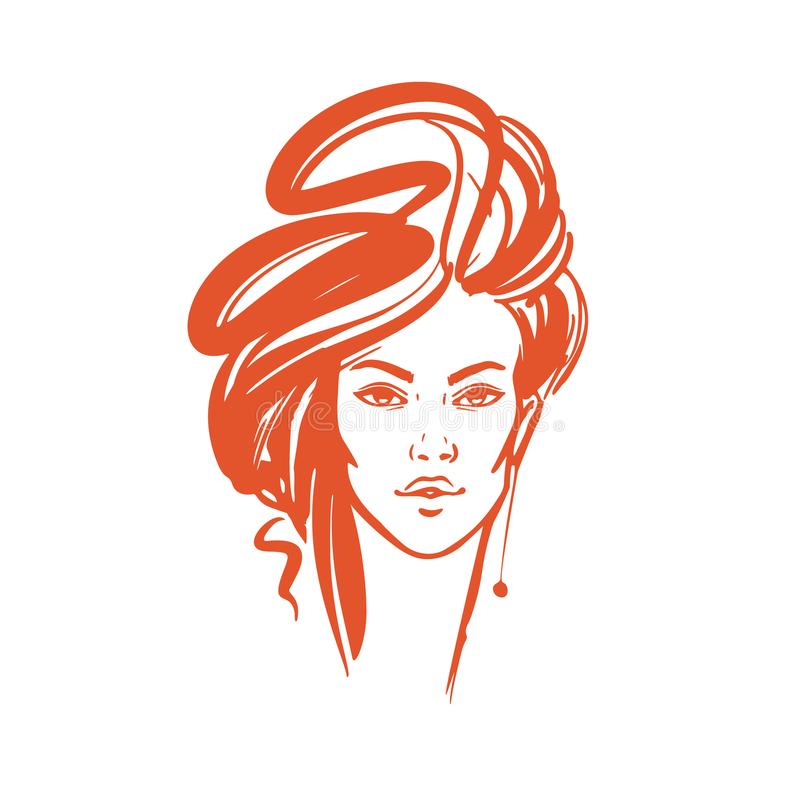Illustration of women long hair style icon, logo women on white vector illustration