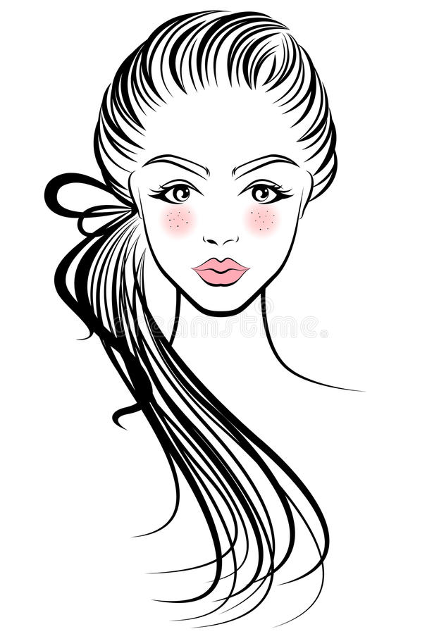 Illustration of women ponytail hair style icon, logo women face vector illustration
