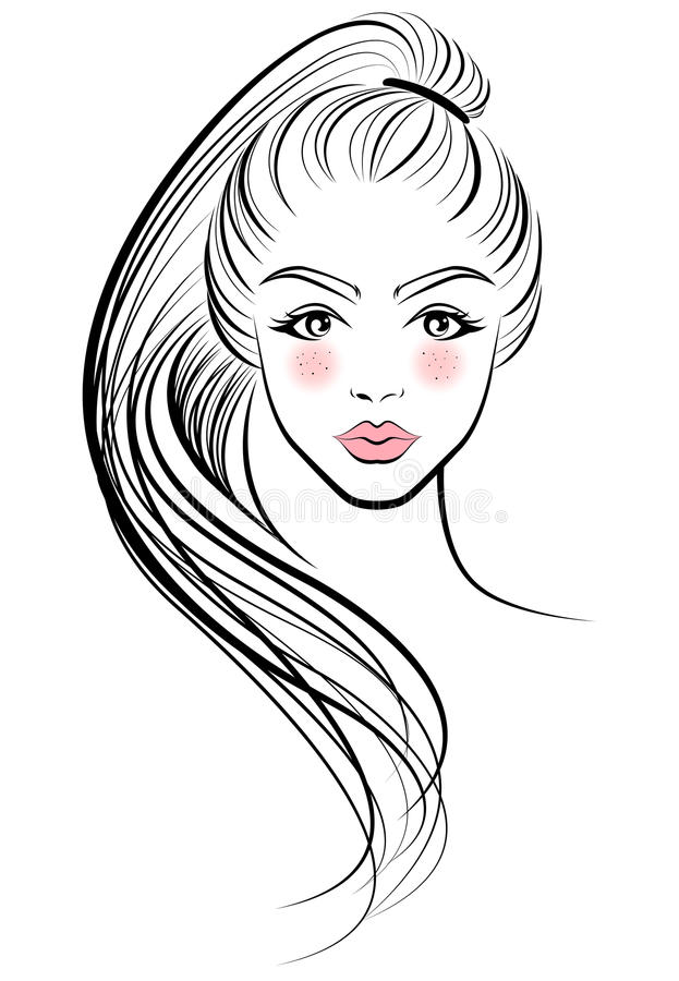 Illustration of women ponytail hair style icon, logo women face stock illustration