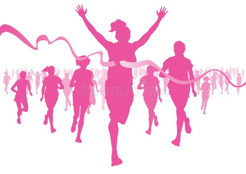 Women Running. Illustration of women running in a race to raise awareness for cancer vector illustration