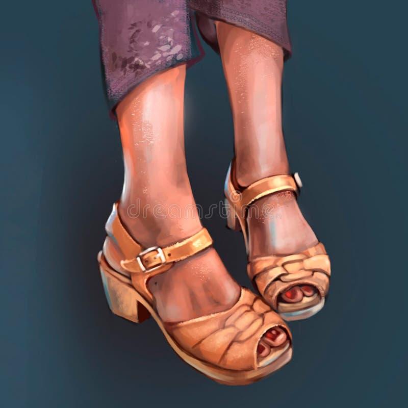 Illustration of women`s leather sandals stock illustration