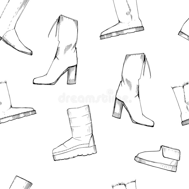 Illustration of Women seamless Hand drawn pattern with winter shoes. Fashion elegand footwear for female. Comfort for. Vector illustration of Women seamless Hand royalty free illustration