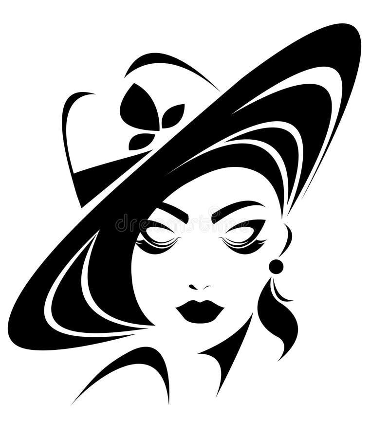 Illustration of women silhouette icon on white background. Illustration of women silhouette icon, women face logo