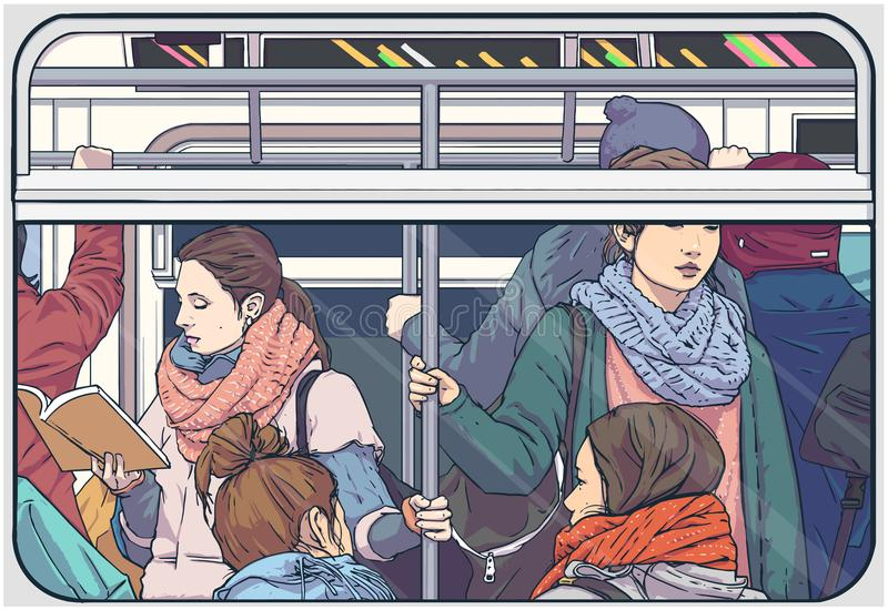 Illustration of crowded metro subway passenger car. Illustration of women only underground public transport car vector illustration