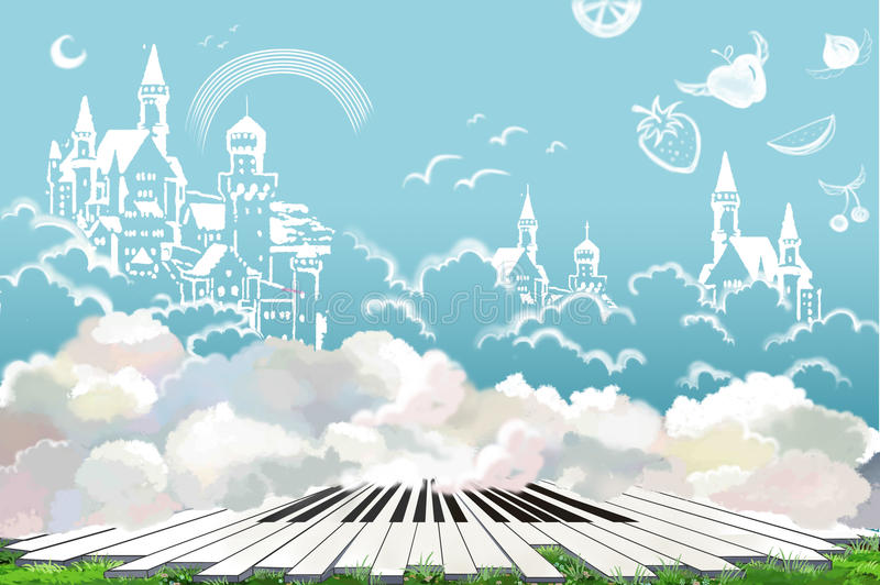 Illustration: The Wonderful Land of Happy Life. Doodled Castle, Fruit in the Sky. The Piano Keys on the Grass. vector illustration