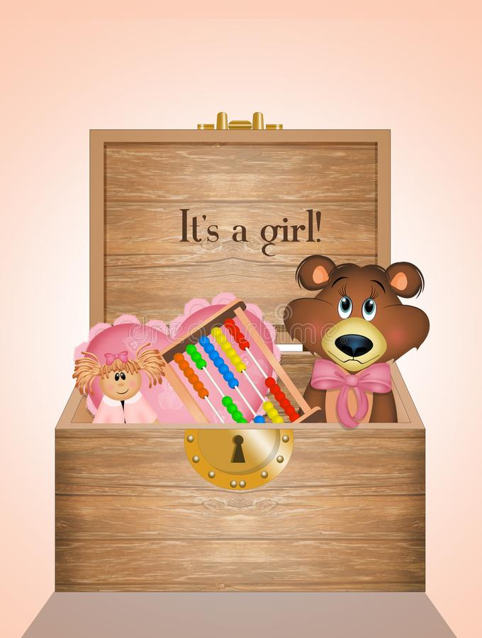 Wooden box with toys for baby female stock illustration