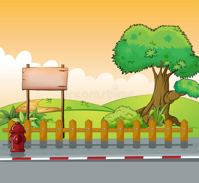 A wooden signboard and a big tree. Illustration of a wooden signboard and a big tree stock illustration