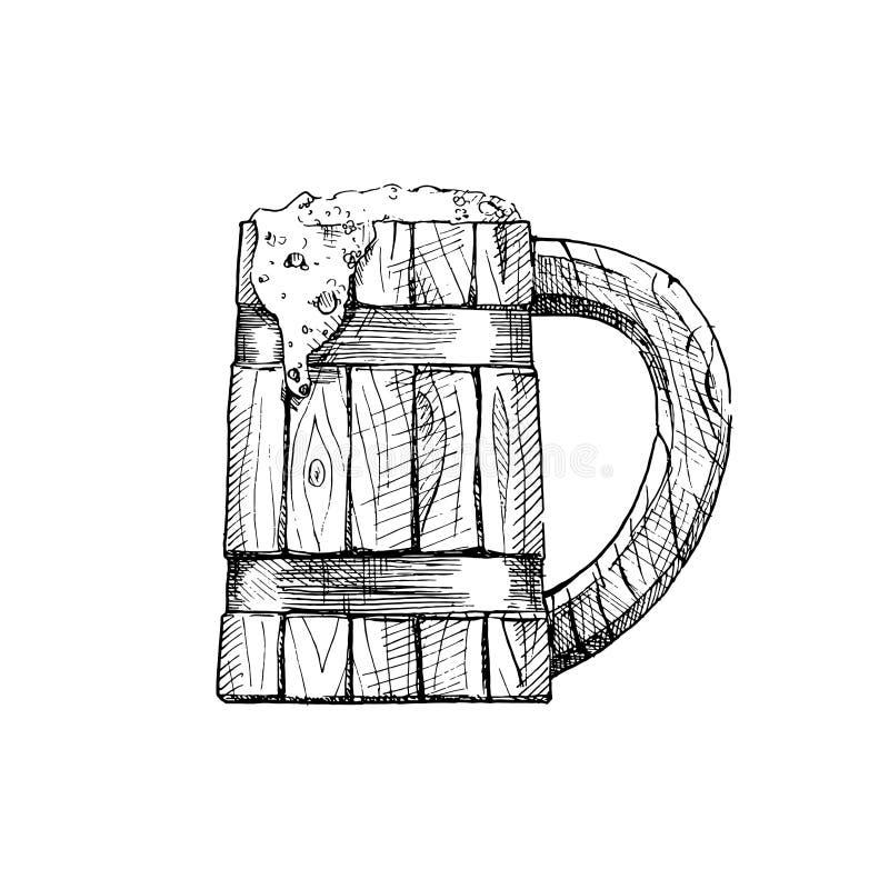 Illustration of wooden tankard stock illustration
