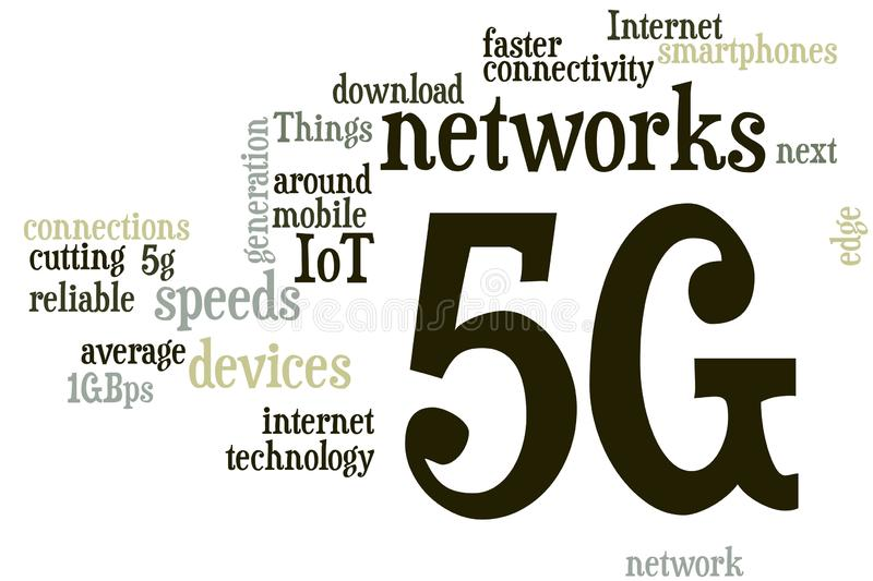 5G word cloud. Illustration of word cloud tags related to 5g technology concept stock illustration