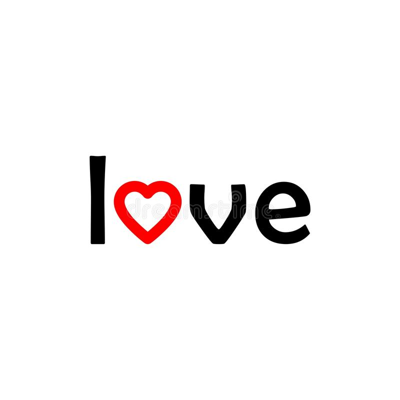 Illustration of the word love, icon or logo stock illustration