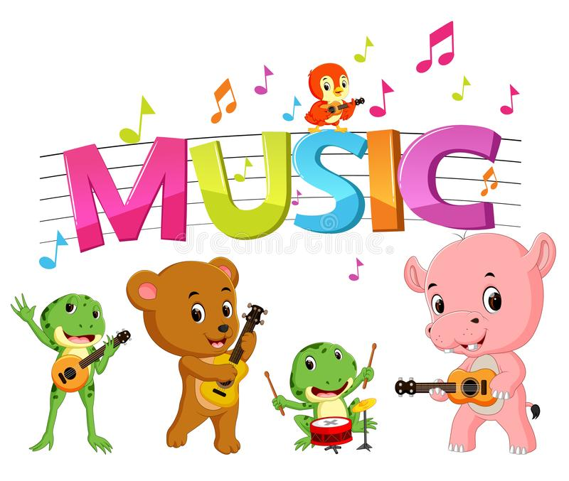 Word music with animal playing music. Illustration of word music with animal playing music royalty free illustration