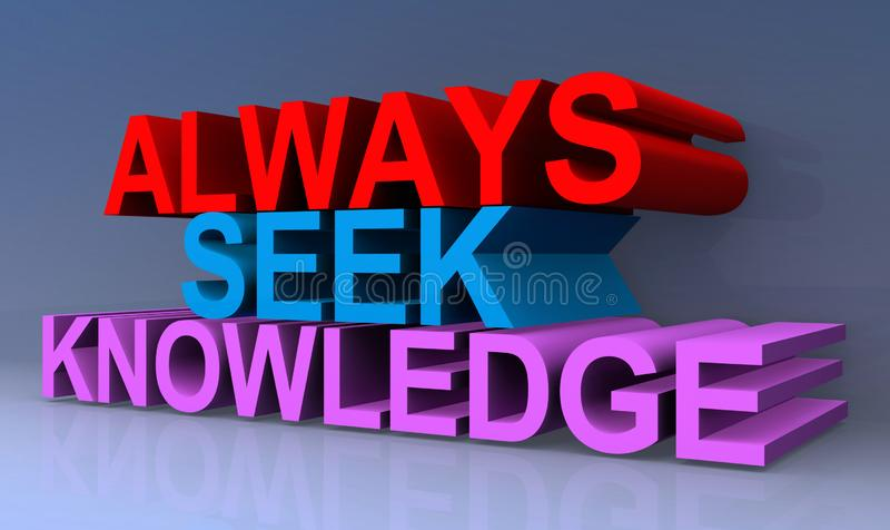 Always seek knowledge. An illustration of the words Always Seek Knowledge royalty free illustration