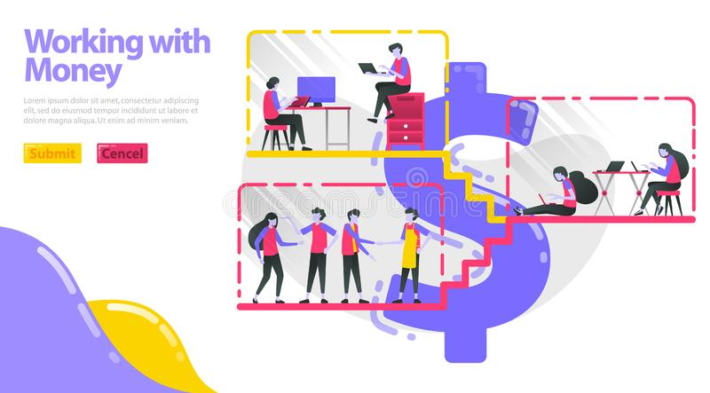 Illustration of working with money. People work, do activities and interact in dollar building. People work in the workplace. Flat vector illustration