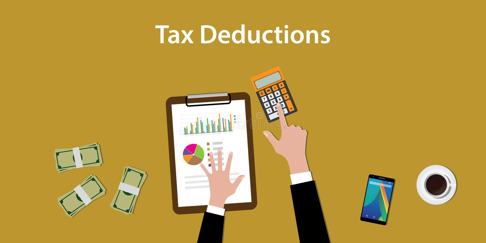 Illustration of working to count a tax deductions calculation with paperworks and calculator on top of table. Vector stock illustration
